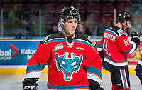 KELOWNA, CANADA - NOVEMBER 18: Jack Cowell #8 of the Kelowna Rockets warms up against the Vancouver Giants on November 18, 2016 at Prospera Place in Kelowna, British Columbia, Canada.  (Photo by Marissa Baecker/Shoot the Breeze)  *** Local Caption ***