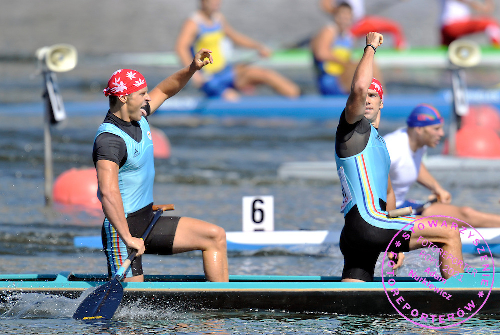 ALEXANDRU DUMITRESCU & VICTOR MIHALACHI (BOTH ROMANIA) CELEBRATE THEIR VICTORY IN MEN'S C2 500 METERS FINAL A RACE DURING 2010 ICF KAYAK SPRINT WORLD CHAMPIONSHIPS ON MALTA LAKE IN POZNAN, POLAND...POLAND , POZNAN , AUGUST 22, 2010..( PHOTO BY ADAM NURKIEWICZ / MEDIASPORT ).