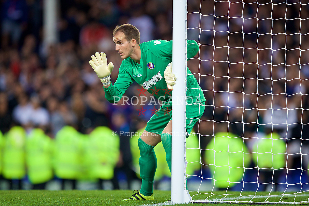 LIVERPOOL, ENGLAND - Thursday, August 17, 2017: HNK Hajduk Split's goalkeeper Dante Stipica during the UEFA Europa League Play-Off 1st Leg match against Everton at Goodison Park. (Pic by David Rawcliffe/Propaganda)