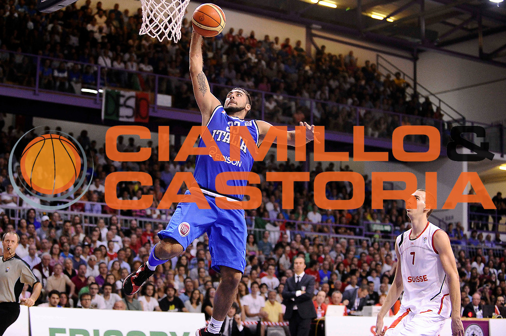 DESCRIZIONE : Bellinzona Qualificazione Eurobasket 2015 Qualifying Round Eurobasket 2015 Svizzera Italia Switzerland Italy<br /> GIOCATORE : Pietro Aradori <br /> CATEGORIA : Schiacciata Controcampo<br /> EVENTO : Bellinzona Qualificazione Eurobasket 2015 Qualifying Round Eurobasket 2015 Svizzera Italia Switzerland Italy<br /> GARA : Svizzera Italia Switzerland Italy<br /> DATA : 27/08/2014<br /> SPORT : Pallacanestro<br /> AUTORE : Agenzia Ciamillo-Castoria/Max.Ceretti<br /> Galleria: Fip Nazionali 2014<br /> Fotonotizia: Bellinzona Qualificazione Eurobasket 2015 Qualifying Round Eurobasket 2015 Svizzera Italia Switzerland Italy<br /> Predefinita :
