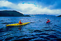 Sea kayaking on Bonne Bay, near Norris Point, Gros Morne National Park, west coast of Newfoundland, Canada