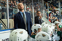 KELOWNA, BC - SEPTEMBER 28:  Everett Silvertips assistant coach Louis Mass and head coach Dennis Williams stand on the bench against the Kelowna Rockets  at Prospera Place on September 28, 2019 in Kelowna, Canada. (Photo by Marissa Baecker/Shoot the Breeze)