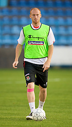 PODGORICA, MONTENEGRO - Tuesday, August 11, 2009: Wales' James Collins during a training session at the Gradski Stadion ahead of the international friendly match against Montenegro. (Photo by David Rawcliffe/Propaganda)