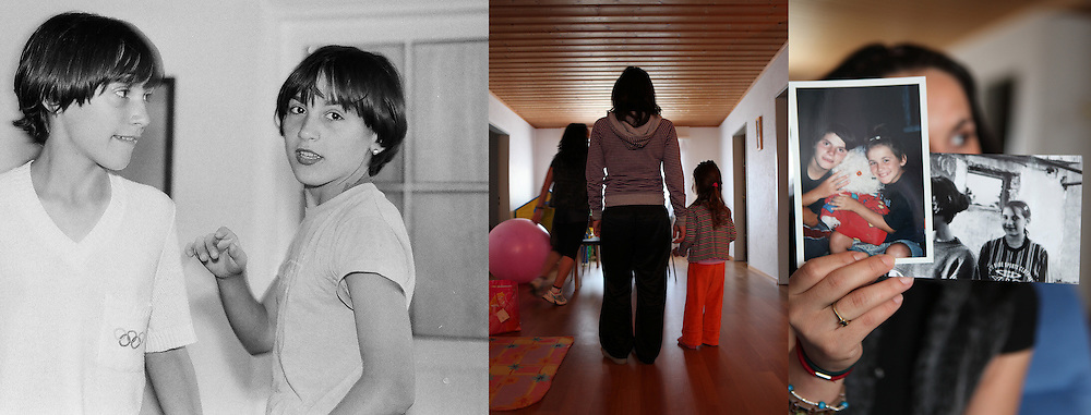 B and A are twins. They were 13 in 1997. In 2006, B was the victim of sex traffickers. She was forced to prostitution in Italy. After the police raid the brothel where she worked, she was deported to Romania where her sister A still lived. In 2009 they both left to Switzerland to work as baby-sitters. They are now married to Swiss men and live in Switzerland.
