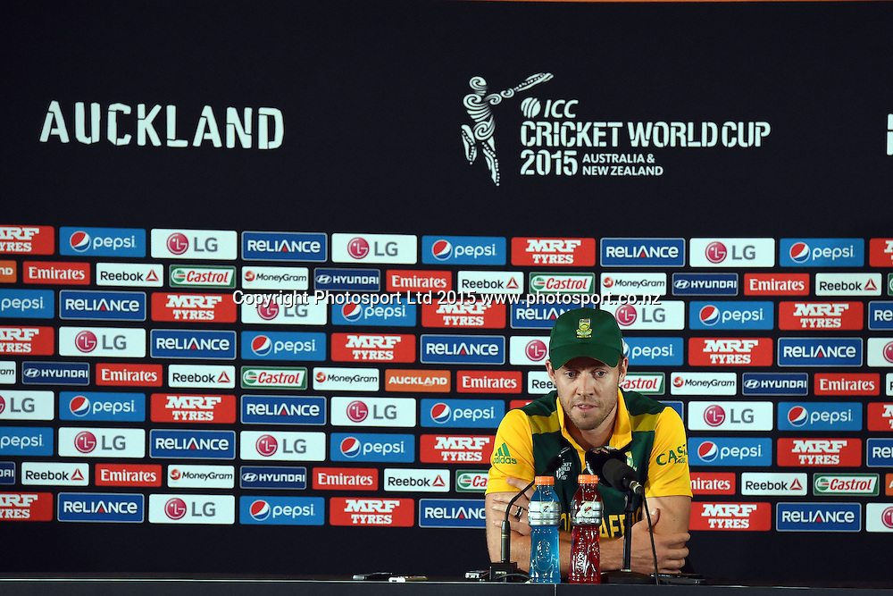 South African captain AB De Villiers at the press conference after their loss to Pakistan at the ICC Cricket World Cup match between Pakistan and South Africa at Eden Park in Auckland, New Zealand. Saturday 07 March 2015. Copyright Photo: Raghavan Venugopal / www.photosport.co.nz