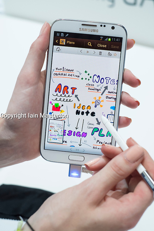 Detail of drawing with stylus with new Samsung Galaxy Note II smart phone released today, 31 August 2012, the opening day of the annual IFA (or Internationale Funkausstellung ) consumer electronics and electrical products show held in Berlin Messe Trade Show Halls Germany