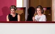25-5-2016 BRUSSELS - Queen Maxima attends at the invitation of Her Majesty Queen Mathilde of Belgium Wednesday May 25 one of the final nights of the Queen Elisabeth Piano Competition in 2016 at the Centre for Fine Arts in Brussels. copyright Robin Utrecht<br /> 25-5-2016 BRUSSEL - Koningin Maxima woont op uitnodiging van Hare Majesteit Koningin Mathilde van België woensdagavond 25 mei één van de finaleavonden van de Koningin Elisabethwedstrijd voor piano 2016 bij in het Paleis voor de Schone Kunsten in Brussel. copyright robin utrecht<br /> BRUSSEL - Koningin Maxima en koningin Mathilde tijdens de Koningin Elisabethwedstrijd voor piano 2016 in het Paleis voor de Schone Kunsten in Brussel.