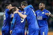 Leicester City players celebrate a goal from Daniel Drinkwater of Leicester City (not shown) during the Premier League match at the King Power Stadium, Leicester<br /> Picture by Andy Kearns/Focus Images Ltd 0781 864 4264<br /> 27/02/2017