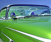 Close up of a lime green Customised Vintage Hotrod car, Viva Las Vegas Festival, Las Vegas, USA 2006.