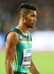 London, August 08 2017 . Wayde van Niekerk, South Africa, makes his way to the start of the men's 400m final on day five of the IAAF London 2017 world Championships at the London Stadium. © Paul Davey.