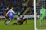 Attempt on goal by Reading's Michael Hector during the Sky Bet Championship match between Reading and Queens Park Rangers at the Madejski Stadium, Reading, England on 3 December 2015. Photo by Mark Davies.