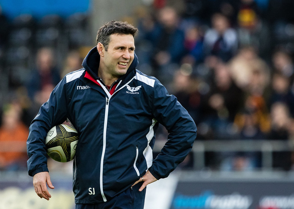 Attack Coach Stephen Jones of Scarlets during the pre match warm up<br /> <br /> Photographer Simon King/Replay Images<br /> <br /> Guinness PRO14 Round 11 - Ospreys v Scarlets - Saturday 22nd December 2018 - Liberty Stadium - Swansea<br /> <br /> World Copyright © Replay Images . All rights reserved. info@replayimages.co.uk - http://replayimages.co.uk