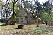 Nederland, Haaksbergen, 3-4-2015In boerderij De Bommelas in het Buurserzand leefden mens en dier in dezelfde ruimte, de mensen aan de voorzijde en het vee in de stal aan de achterzijde.De boerderij is gebouwd volgens het los hoestype, waarbij woning en stal in één ruimte zijn. Los hoes betekent letterlijk 'open huis'. In de ontwikkeling van de boerderijbouw is dit de oudste vorm van het hallenhuistype. Het hallenhuis is een boerderijtype dat vanaf de 12e tot in de 19e eeuw is toegepast. Het is kenmerkend voor de boerderijbouw van Twente en de Achterhoek.De boerderij is opgebouwd met handgevormde bakstenen, die zijn gebakken in hout gestookte veldovens. Het hoog opgaande zadeldak is gedekt met Hollandse pannen en de topgevels zijn voorzien van een betimmering van brede houten delen, geheel in de traditie van de streek. In de achtergevel en zijgevels is vakwerkbouw toegepast. Hierbij vormen balken een soort skelet. De vakken die ontstaan worden opgevuld met baksteen.FOTO: FLIP FRANSSEN/ HH