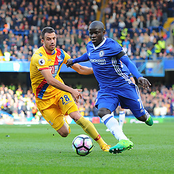 N'Golo Kanté of Chelsea takes the ball away from Luka Milivojevic of Crystal Palace during Chelsea vs Crystal Palace, Premier League , 01.04.17 (c) Harriet Lander | SportPix.org.uk