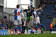 Bristol City striker, Aaron Wilbraham (18) fouled during the Sky Bet Championship match between Blackburn Rovers and Bristol City at Ewood Park, Blackburn, England on 23 April 2016. Photo by Pete Burns.
