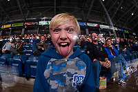 KELOWNA, CANADA - FEBRUARY 7: A young fan hams it up for the camera on February 7, 2018 at Prospera Place in Kelowna, British Columbia, Canada.  (Photo by Marissa Baecker/Shoot the Breeze)  *** Local Caption ***
