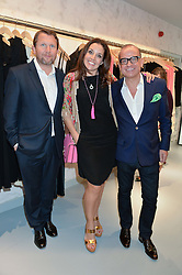 Left to right, NICK JENKINS, SARAH WILLINGHAM and TOUKER SULEYMAN new dragons in BBC's Dragon's Den at a party to celebrate the re-launch of the Ghost Flagship store at 120 King's Road, London on 15th April 2015.