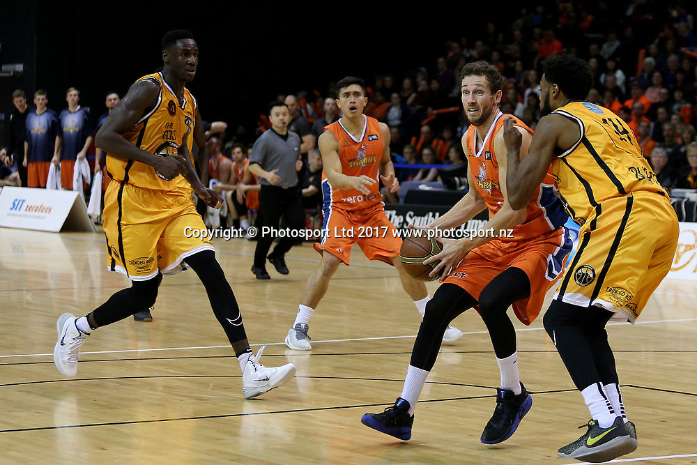 Luke Aston of the Sharks drives down court to the basket during the NBL basketball match, Southland Sharks v Taranaki Mountainairs, ILT Stadium Southland, Invercargill, New Zealand, Friday, June 02, 2017. © Copyright photo: Dianne Manson / www.photosport.nz