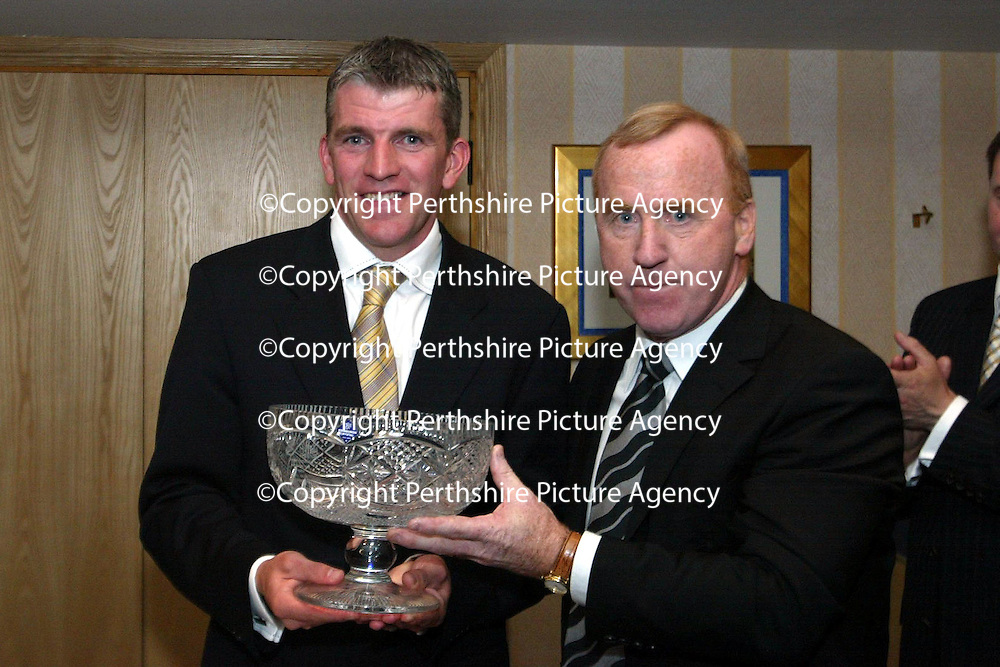 Jim Weir Testimonial...11.04.05<br />Jim Weir with Tommy CRaig of Newcastle Utd<br /><br />Picture by Graeme Hart.<br />Copyright Perthshire Picture Agency<br />Tel: 01738 623350  Mobile: 07990 594431