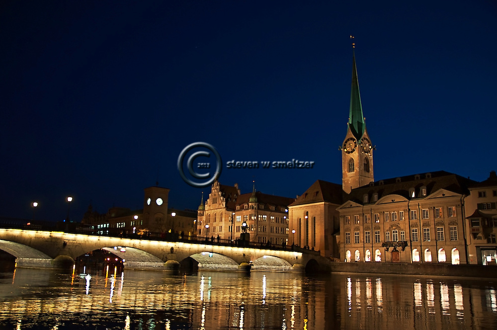 Fraumunster at Night, Zurich Switzerland