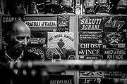 A shop selling t-shirts with fascist motos. About 2000 fascists gathered in Predappio, Italy to commemorate the annivrsary of the 'Marcia su Roma' A march held on October 28th 1922 and marked the start of the Italian fascit era .Federico Scoppa