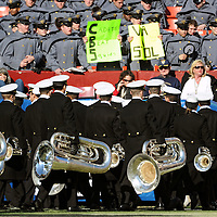 10 December 2011:   The Navy Midshipmen marching band leave the field prior to the game against the Army Black Knights at Fed Ex field in Landover, Md. in the112th annual Army Navy game where Navy defeated Army, 27-21 for the 10th consecutive time.