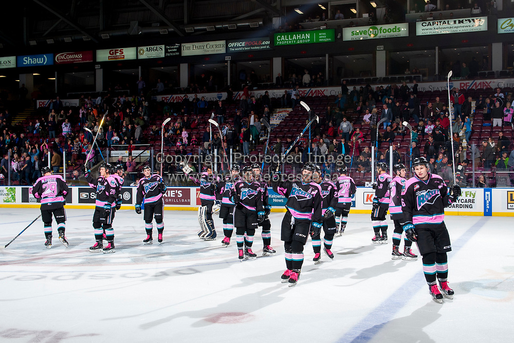 KELOWNA, CANADA - OCTOBER 21: The Kelowna Rockets' salute the fans on the win against the Portland Winterhawks on October 21, 2017 at Prospera Place in Kelowna, British Columbia, Canada.  (Photo by Marissa Baecker/Shoot the Breeze)  *** Local Caption ***