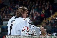 KELOWNA, CANADA - OCTOBER 16: Corbin Boes #1 of the Lethbridge Hurricanes stands in net against the Kelowna Rockets on October 16, 2013 at Prospera Place in Kelowna, British Columbia, Canada.   (Photo by Marissa Baecker/Shoot the Breeze)  ***  Local Caption  ***