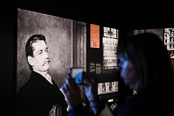 "© Licensed to London News Pictures. 23/05/2017. London, UK.   An image of Louis-François Cartier is seen at the press preview of ""Cartier in Motion"", an exhibition on Cartier,  co-curated by celebrated architect Lord Norman Foster and Design Museum director Deyan Sudjic, at the Design Museum in London.  The exhibition runs from 25 May to 28 July 2017. Photo credit : Stephen Chung/LNP"