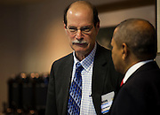 Mark Weinberg, left, Founding Dean, Voinovich School of Leadership and Public Affairs, Ohio University, speaks with Ohio University President Roderick McDavis at the Opening Plenary Session in the Cutler Ballroom at Ohio University Inn, Athens, OH, on Thursday, April 7, 2016. -- The Voinovich School of Leadership and Public Affairs is hosting the CUPSO (Consortium of University Public Service Organizations) annual conference at Ohio University in Athens, OH, from April 6-8, 2016. © Ohio University / Sonja Y. Foster