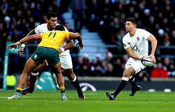 Ben Youngs of England passes the ball - Mandatory by-line: Robbie Stephenson/JMP - 03/12/2016 - RUGBY - Twickenham - London, England - England v Australia - Old Mutual Wealth Series