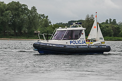 June 24, 2017 - Puck, Poland - Water Police boat is seen during the annual Kashubian fishermen sea pilgrimage in Puck, Poland on 24 June 2017 Every year fishermen from Kashubia region pay honour to died at the Baltic sea colleagues and pray for  the prosperity of fishing. (Credit Image: © Michal Fludra/NurPhoto via ZUMA Press)