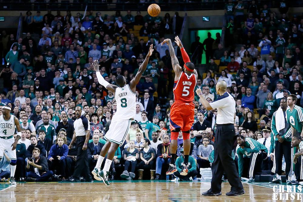08 March 2013: Atlanta Hawks small forward Josh Smith (5) takes a jumpshot over Boston Celtics power forward Jeff Green (8) during the Boston Celtics 107-102 OT victory over the Atlanta Hawks at the TD Garden, Boston, Massachusetts, USA.