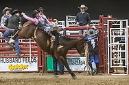 Bareback rider Troy Kirkpatrick rides Mosbrucker Rodeo's -345 Bay Wars during the Bismarck Rodeo on Saturday, Feb. 3, 2018. He had a score of 58. More photos of each run are available at Bobwire-S.com.