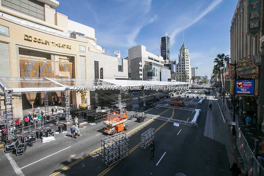 Crews setup in front of Dolby Theatre along Hollywood Boulevard in preparation for the 88th Academy Awards in Los Angeles, Monday, February 22, 2016. The Academy Awards will be held Sunday, February 28, 2016. (Photo by Ringo Chiu/PHOTOFORMULA.com)<br /> <br /> Usage Notes: This content is intended for editorial use only. For other uses, additional clearances may be required.