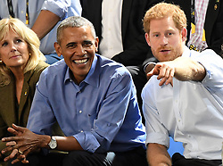 Prince Harry and Barack Obama attend the Invictus Games Wheelchair Basketball at the Pan Am Sports Centre, Toronto, Ontario, Canada, on the 29th September 2017. 28 Sep 2017 Pictured: Prince Harry and Barack Obama attend the Invictus Games Wheelchair Basketball at the Pan Am Sports Centre, Toronto, Ontario, Canada, on the 29th September 2017. Picture by James Whatling. Photo credit: James Whatling / MEGA TheMegaAgency.com +1 888 505 6342