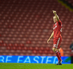 LIVERPOOL, ENGLAND - Thursday, September 16, 2010: Liverpool's Jay Spearing after the opening UEFA Europa League Group K match against FC Steaua Bucuresti at Anfield. (Photo by David Rawcliffe/Propaganda)