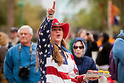 14 FEBRUARY 2012 - PHOENIX, AZ:   SUZIE MCVICAR, from Payson, AZ, during centennial activities at the State Capitol in Phoenix, Feb 14. Arizona's statehood day is February 14 and this year Arizona marked 100 years of statehood. It was the last state in the 48 contiguous United States. PHOTO BY JACK KURTZ