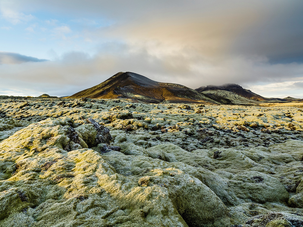 Morning over the moss at Hellisheiði