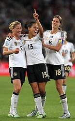 05-07-2011 VOETBAL: FIFA WOMENS WORLDCUP 2011 FRANCE - GERMANY: MONCHENGLADBACH<br /> Torjubel Bianca Schmidt , Celia Okoyino Da Mbabi und Kerstin Garefrekes (GER) nach dem 4:2 durch Da Mbabi <br /> ***NETHERLANDS ONLY***<br /> ©2011-FRH- NPH/Karina Hessland