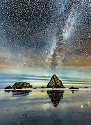 Even with a bit of light pollution and some distant clouds, the Milky Way was bright over the Pacific Ocean from Whaler's Beach in Oregon.