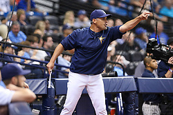 May 9, 2017 - St. Petersburg, Florida, U.S. - WILL VRAGOVIC   |   Times.Tampa Bay Rays manager Kevin Cash (16) draws an ejection for arguing with umpire Tim Welke (3) in the third inning of the game between the Kansas City Royals and the Tampa Bay Rays at Tropicana Field in St. Petersburg, Fla. on Tuesday, May 9, 2017. (Credit Image: © Will Vragovic/Tampa Bay Times via ZUMA Wire)