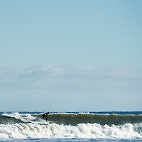 Winter surfing off the coast of Massachusetts