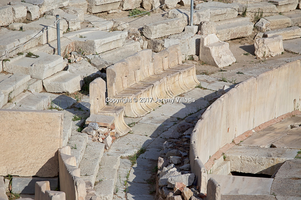 Marble thrones at the Theatre of Dionysus in the South Slope of the Athenian Acropolis.