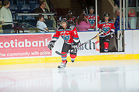 KELOWNA, CANADA - OCTOBER 10: Dylen McKinlay #19 of the Kelowna Rockets enters the ice as the Spokane Chiefs visit the Kelowna Rockets on October 10, 2012 at Prospera Place in Kelowna, British Columbia, Canada (Photo by Marissa Baecker/Shoot the Breeze) *** Local Caption ***