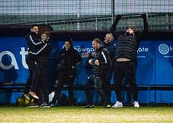 Stenhousemuir's bench cele Mark McGuigan (9) scoring their fourth goal. Stenhousemuir 4 v 2 Falkirk, 3rd Round of the William Hill Scottish Cup played 24/11/2018 at Ochilview Park, Larbert.