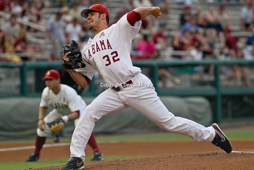 June 04, 2011; Tallahassee, FL, USA; Alabama Crimson Tide starting pitcher Adam Morgan during the first inning of the Tallahassee regional of the 2011 NCAA baseball tournament against the Florida State Seminoles at Dick Howser Stadium. Mandatory Credit: Derick E. Hingle