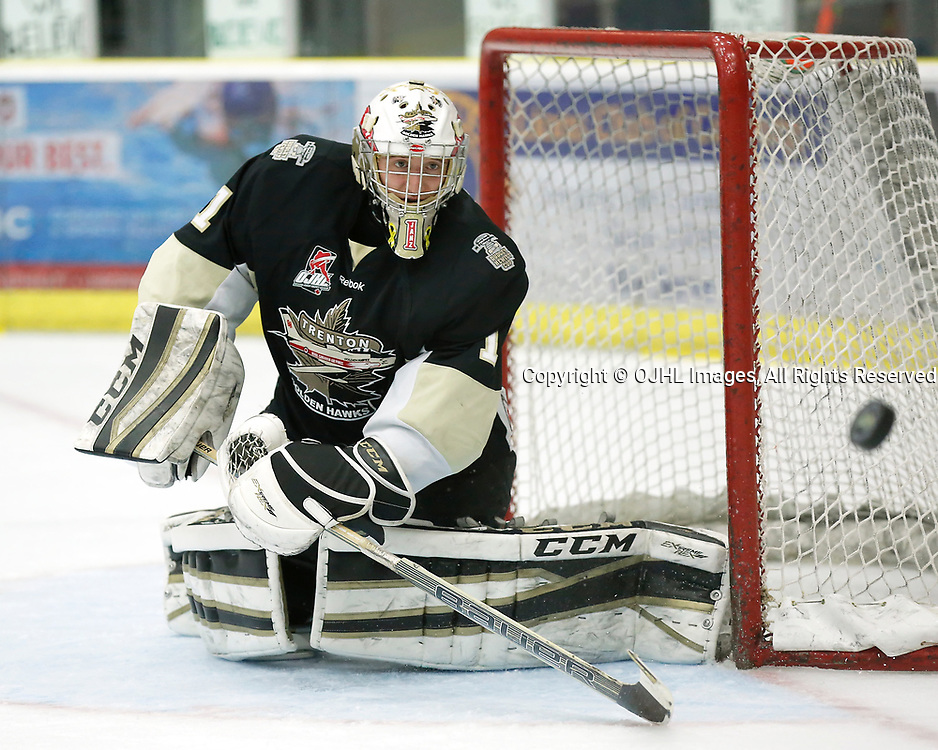 COBOURG, ON - APR 6,  2017: Ontario Junior Hockey League, North East Conference Championship game between Trenton Golden Hawks and the Cobourg Cougars. Chris Janzen #1 of the Trenton Golden Hawks makes the save<br /> (Photo by Amy Deroche / OJHL Images)