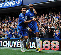 Nicolas Anelka Celebrates Scoring 1st Goal with team mate Deco<br /> Chelsea 2009/10<br /> Chelsea V Liverpool (2-0) 04/10/09<br /> The Premier League<br /> Photo Robin Parker Fotosports International