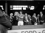 20/05/1984<br /> 05/20/1984<br /> 20 May 1984<br /> Ford G.A.A. Centenary Finals at Croke Park, Dublin.<br /> John Fenton (left), Captain of the winning Cork team holding the Ford G.A.A. Centenary Cup after the Final at Croke Park, Dublin on Sunday, 20th of May 1984 against Laoghise. Also in the picture are Mr. Paddy Buggy (center), president of the G.A.A. who presented the Trophy and Henry Ford & Son (Sales) Limited, Cork.